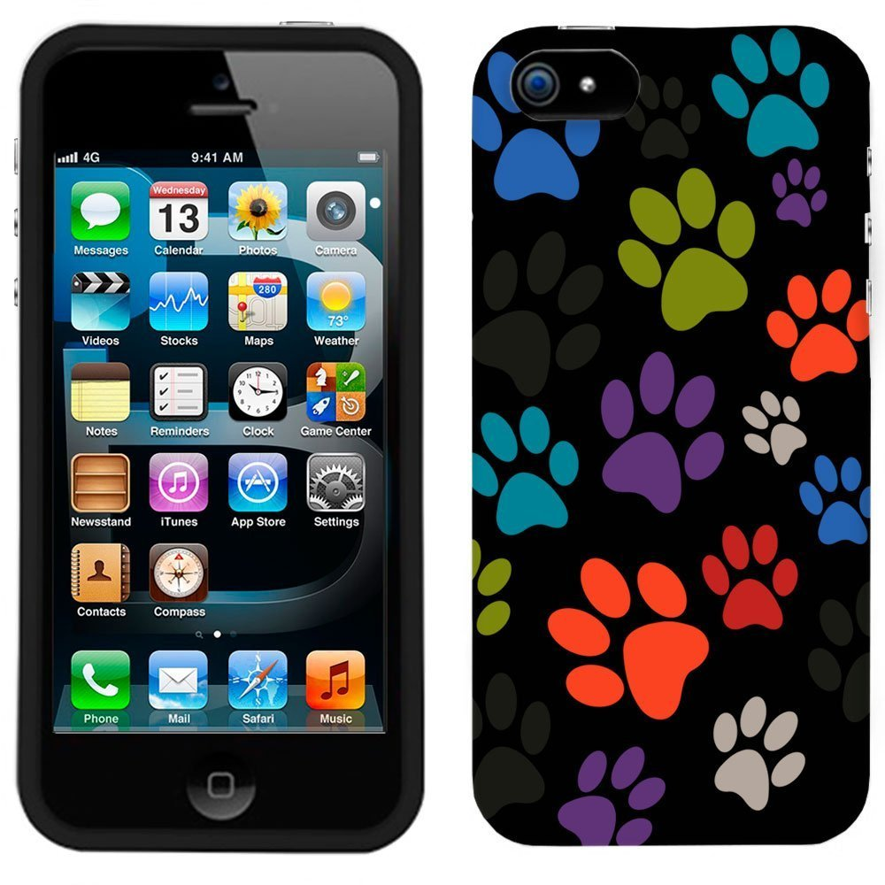 Multi Dog Paws on Black Phone Case Cover | Animals Zone