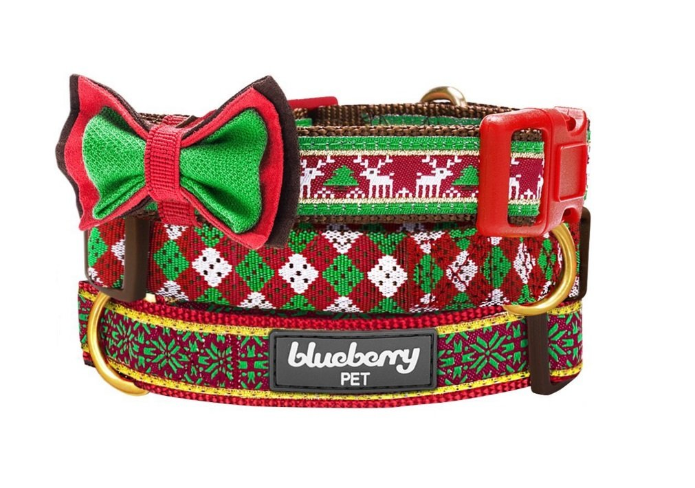Holiday Gift Guide: Blueberry Pet Holiday Season Dog Collar with Detachable Bowtie | Animals Zone