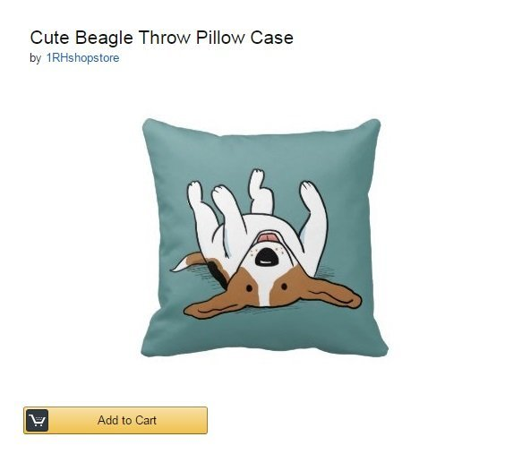 Cute #Beagle Throw Pillow Case
