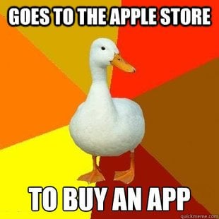 Technologically redundant duck app store meme