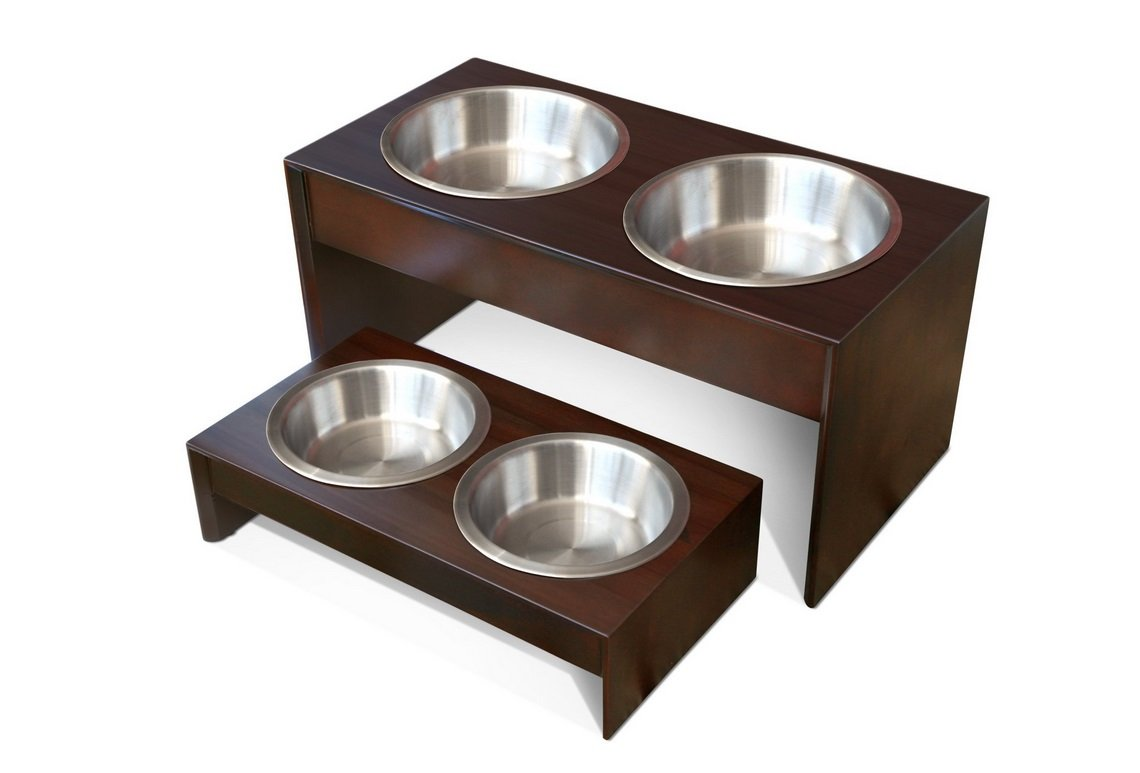 Elevated Pet Feeder in Solid Wood | Animals Zone