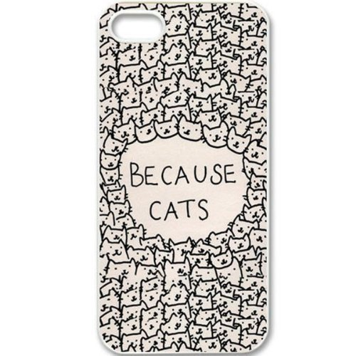 Because Cats - Cartoon Retro Patterned Hard Back Case | Animals Zone