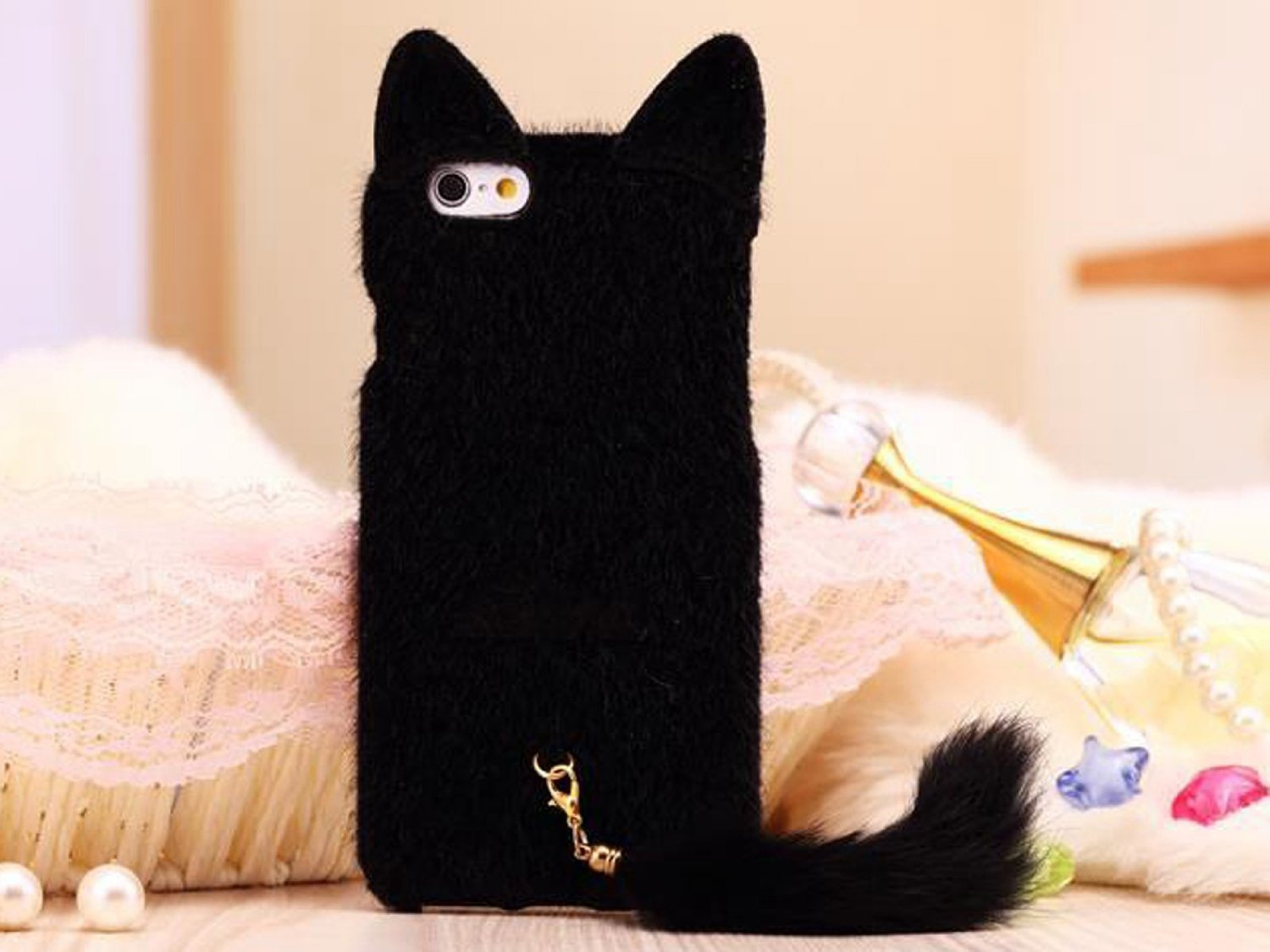 3D Cute Fluffy Tail Cat Case Cover | Animals Zone