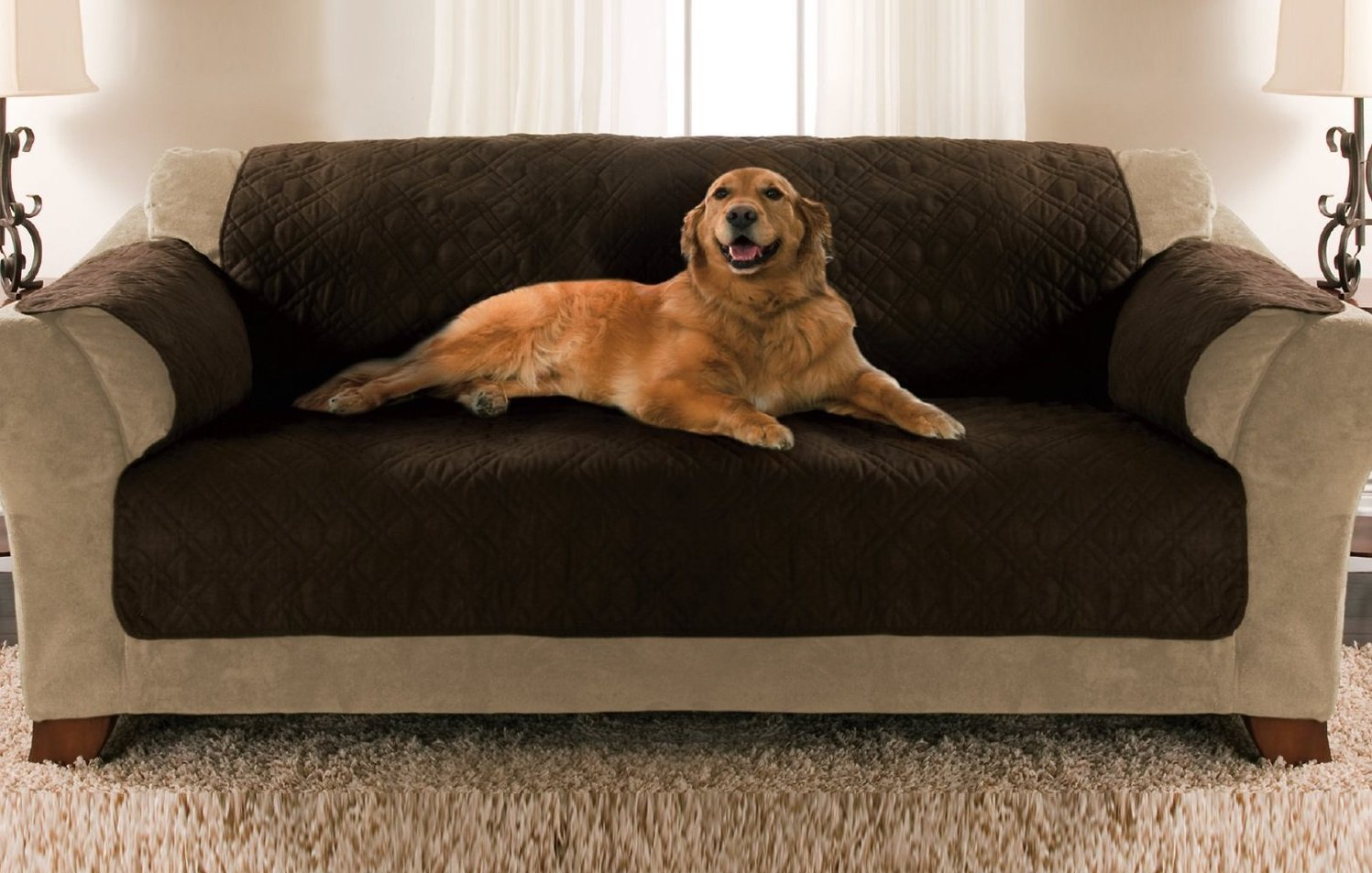 Pets Sofa Size Quilted Micro Suede Furniture Protector | Animals Zone