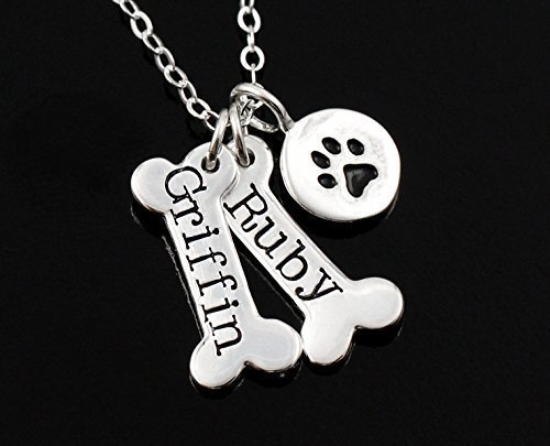 Dog Bone & Dog Paw Print Necklace | Animals Zone